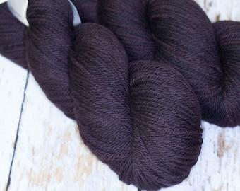 Hand Dyed Yarn KM Worsted Superwash Merino Wool in Dark Brown Black
