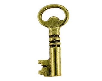 Antique Gold Plated Fancy Key 10x23mm (Pkg of 2)(EB3001GP)