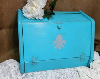 Bread Box, Shabby Chic Bread Box, Turquoise Bread Box, Vintage Bread Box, Turquoise, RobinsStudio, Shabby Chic, Cottage Chic