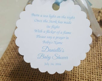 Personalized Favor Tags 2.5'', Thank You tags, Favor tags, Gift tags, baby poem, candle, tea light baby shower poem, candle poem