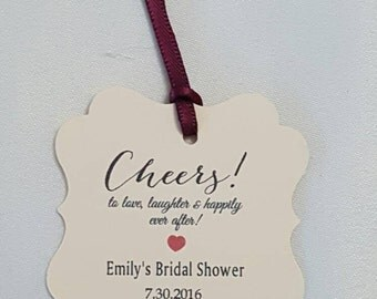 """Personalized Favor Tags 2""""x2'', Wedding tags, Thank You tags, Favor tags, Gift tags, Bridal Shower Favor Tags, cheers tag, wine favor tag"""