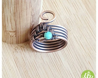Band ring turquoise - wire wrapped ring - turquoise ring - copper ring - wire ring - woven ring - blue stone ring - turquoise jewelry