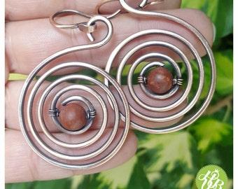 Wire jasper earrings, wire wrapped spiral earrings, earth tone earrings, copper wire earrings, wire jewelry handmade, big swirl earrings
