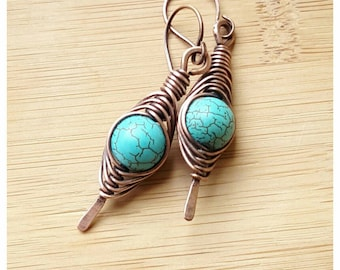 Boho copper earring/wire wrapped earring turquoise/gemstone earring wire/herringbone weave/tribal earring wire wrapped/copper jewelry wire