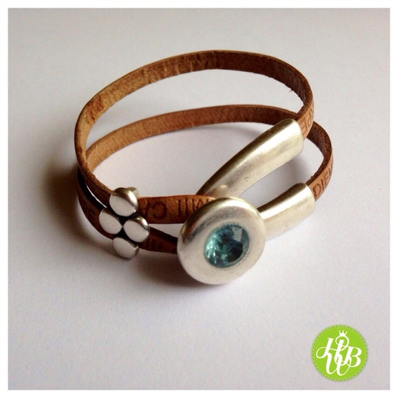 light brown leather bracelet for blue by happywirebijoux