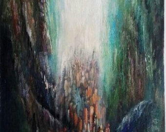 """Judaica Oil Painting Mixed Media """"Splitting of the Sea""""  by Yossi Bitton"""