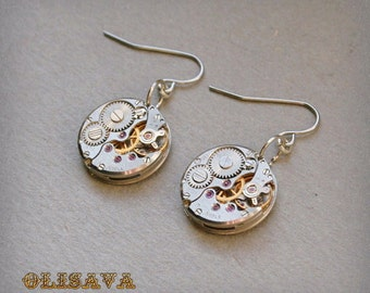 Steampunk Earrings with  Vintage Mechanical Watch Movement , Steampunk Earrings , Steampunk jewelry
