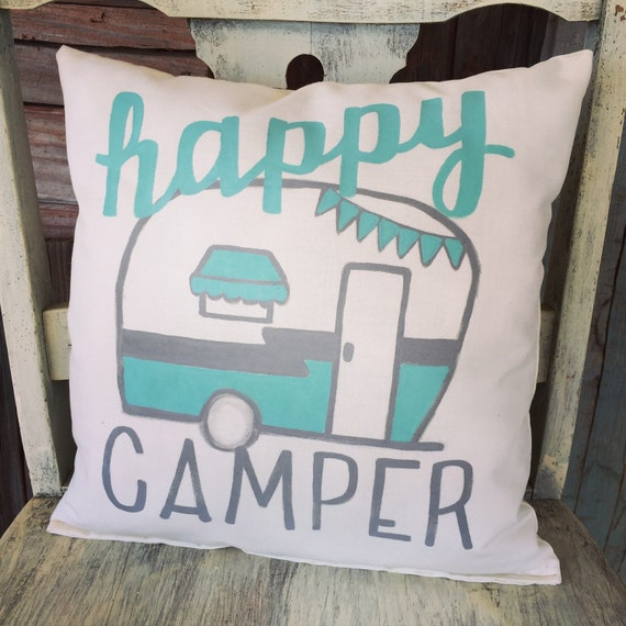 Happy Camper 12' x 12' Linen Pillow