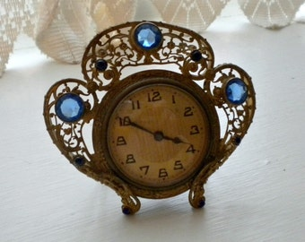 Antique French Jeweled Corona Crown Desk Boudoir Clock
