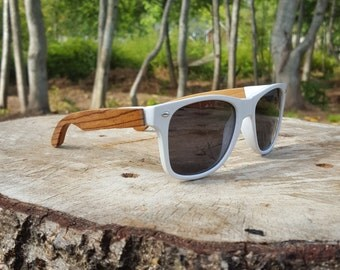 White wood stemmed sunglasses (Zebra-Wood)