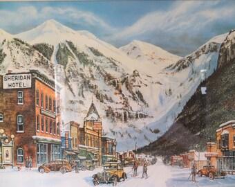 Vintage Framed Art - Telluride's Early Years - 1987 Art by James McNair