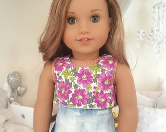 18 inch doll floral crop top