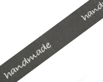 "Woven Ribbon 16 mm ""Handmade"" graphite/white"