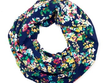 Spring Floral Blue and Bright Floral Infinity Scarf