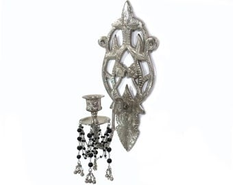 vintage silver hollywood regency candle wall sconce with black bead accents taper candle wall mount