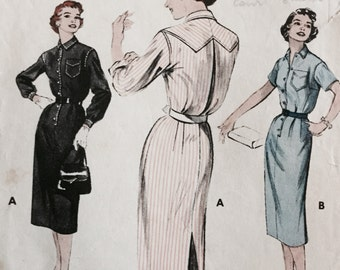 1940s Sewing Pattern 7018, 40s Shirt Dress Pattern, Butterick Sewing Pattern, Size 16, Bust 34