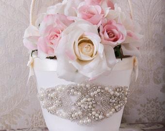 Flower Girl Basket, Flower Girls Baskets, White or Ivory Flower Basket, Wedding Basket