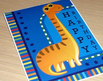 Kids Happy Birthday card - Boys or Girls - googly eyed dinosaur - very cute - handmade greeting card for kids
