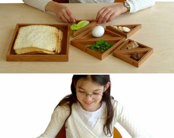 Pre - Passover SALE Passover Seder plate, Modern pesach and Matzah plate, Wood tangram passover plate, Modern judaica art, Jewish holidays,