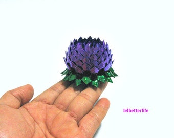 A piece of Small Size Purple Color Origami Lotus. (4D Glittering paper series).