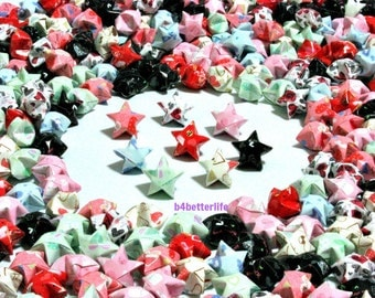500pcs Hand-folded Origami Lucky Stars In Assorted Colors. #C115a. (XT paper series).