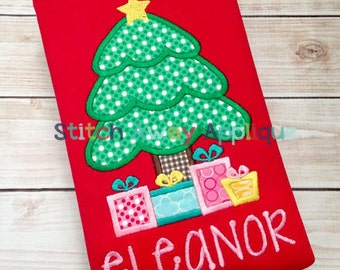 Christmas Tree with Presents Machine Applique Design