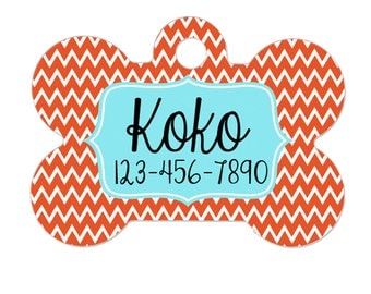 Dog Tags for Dogs - Orange Aqua Chevron Dog Tags for Dogs
