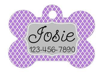 Personalized Dog ID Name Tag - Lavandar Gray Quatrefoil
