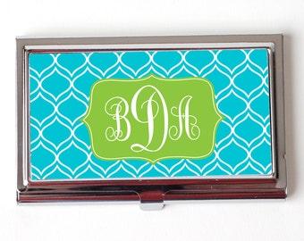 Elegant Turquoise Monogram Business Card Case - Monogram Business Card Holder - Monogram Business Card Case