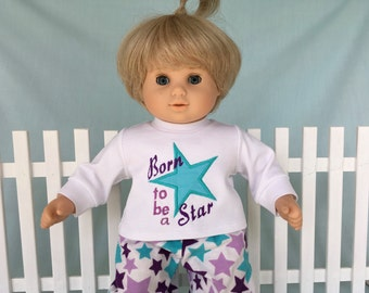 Born To Be A Star Pajamas and Optional Slippers for Bitty Twin, Bitty Baby/15 inch doll
