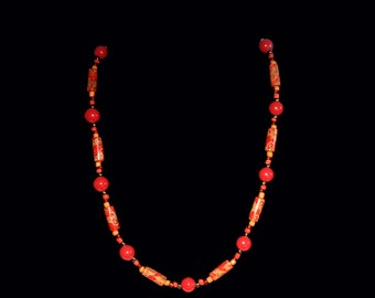Red and Orange Wood and Glass Beaded Necklace - gift under 20