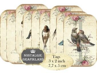 Birds Shabby Chic Tags Swallows Blackbird Oiseau Instant Download digital collage sheet T106