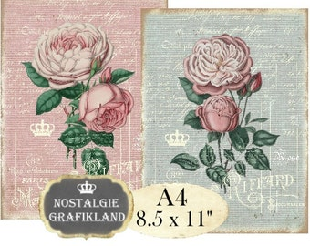 Shabby Chic Roses Victorian Rose Flowers Fleurs French Transfer Instant Download digital collage sheet A121