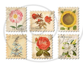 Floral stamps. Fake stamps. Old postage stamps. Vintage digital stamps. Postage stamp art. Digital collage sheet #6. Instant download PNG