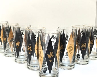Set of 8 Vintage Zodiac Drinking Glasses - Mid Century Black and Gold Mad Men Zodiac Glasses