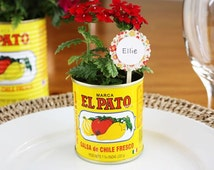 El Pato Mexican tin cans Set of 6 SMALL  ~ unique Escort Cards Table Setting Wedding Rehearsal Dinner Birthday Retirement Fiesta Baby BBQ