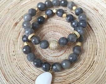 Labradorite and Gold Pave Bracelet Set