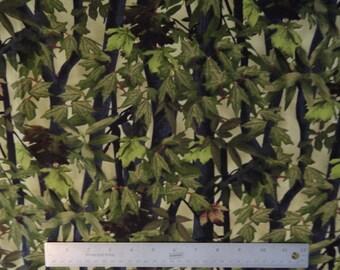 Camo Green Leaves Fabric