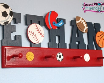 sport room letters, boys room decor, sports decor, metals organizer, boys coat hat racks, kids room decor, sports theme letters, boy letters
