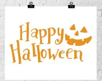 Halloween Printable, Jack O Lantern Art, Halloween Wall, Halloween Decor, Halloween Wall Prints, Happy Halloween Art, Digital Printable Art