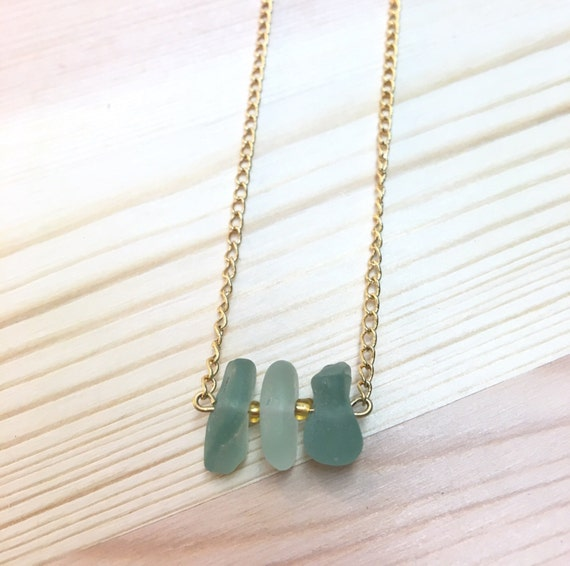 Dainty Aqua and Frosty White Seaglass Necklace 14k gf