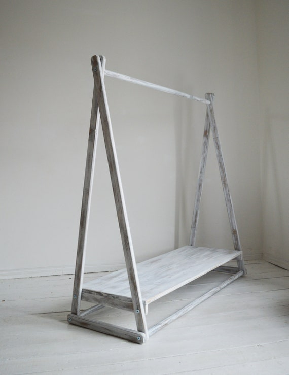 handmade wood clothes rail with shelf in by