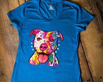 Gifts for Dog Lovers, Pittbull, Dogs, Colorful, Screen print, Pittbull Face, T shirt