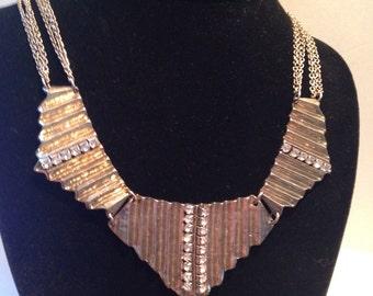 Beautiful Great Gatsby Style Rhinestone Glam Statement Necklace