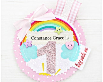Personalised Ribbon Loop Badge. Birthday. Wedding. Christening. Keepsake. Pin. Brooch. Present. Gift. Kids Birthday. Ages. Names Customised.