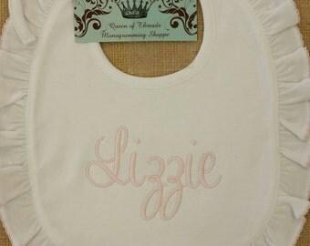Baby girl Special Occasion bib,monogrammed bib, pima cotton, ruffle