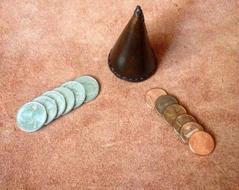 Leather cone for Cap and Pence Stack of Quarters