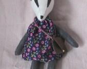 Mildred Badger - Handmade Felt Badger - Stuffed Badger