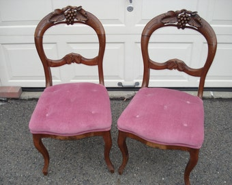 Victorian Carved Mahogany Open Balloon Back Parlor Chairs, Pick Up Only
