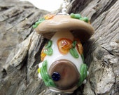 Toadstool Fairy House Glass Pendant with Peach Roses and Daisies